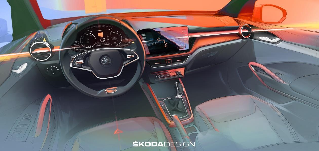 Skoda раскрыла дизайн интерьера новой Fabia
